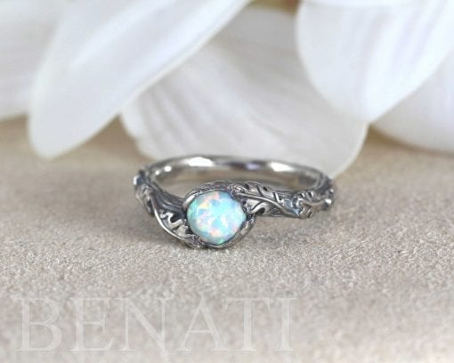 Opal leaves ring in sterling silver, Nature inspired ring
