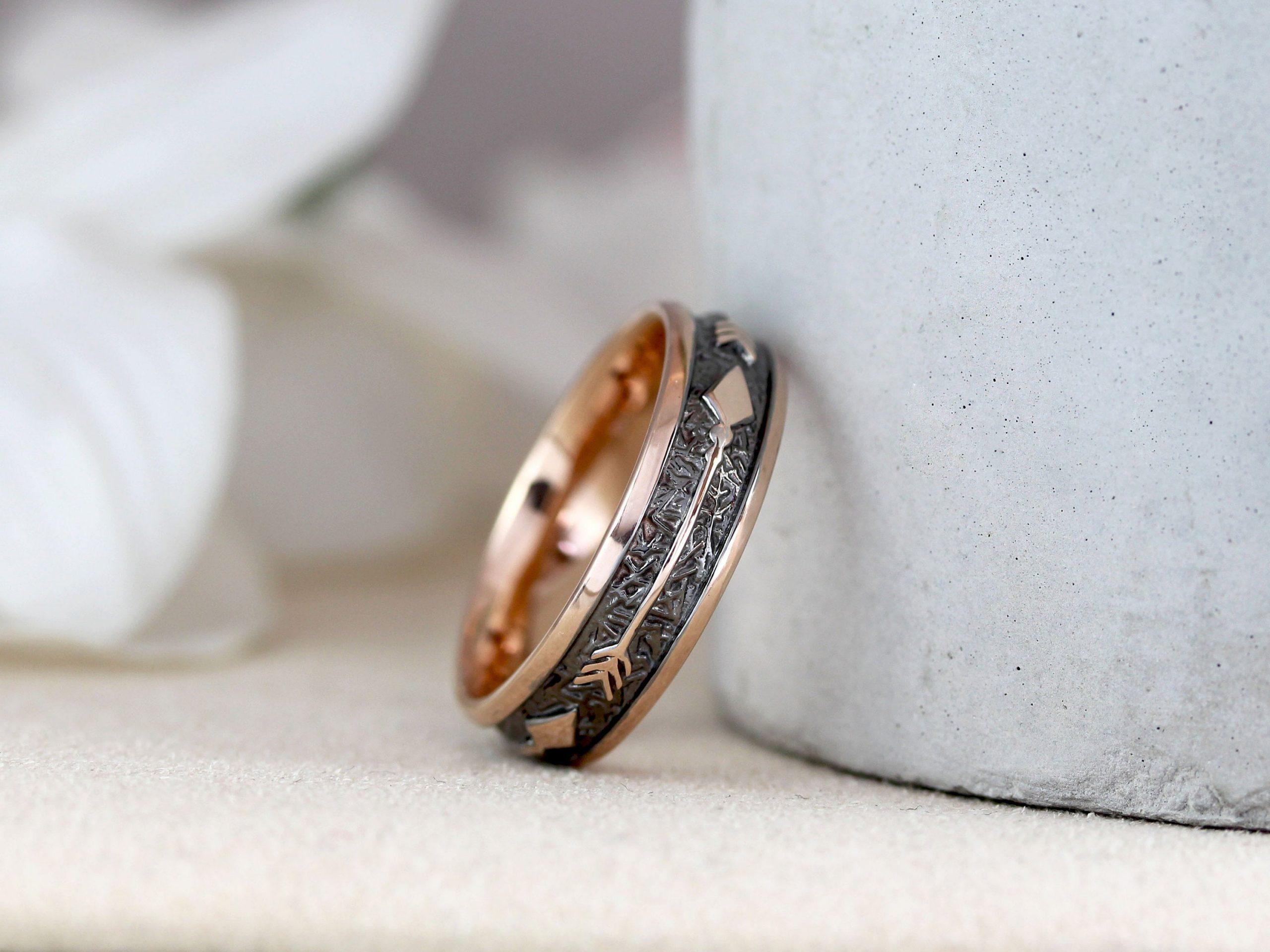 Men Wedding Ring Unique 6 Mm Rose Gold Black Personalized Ring Benati
