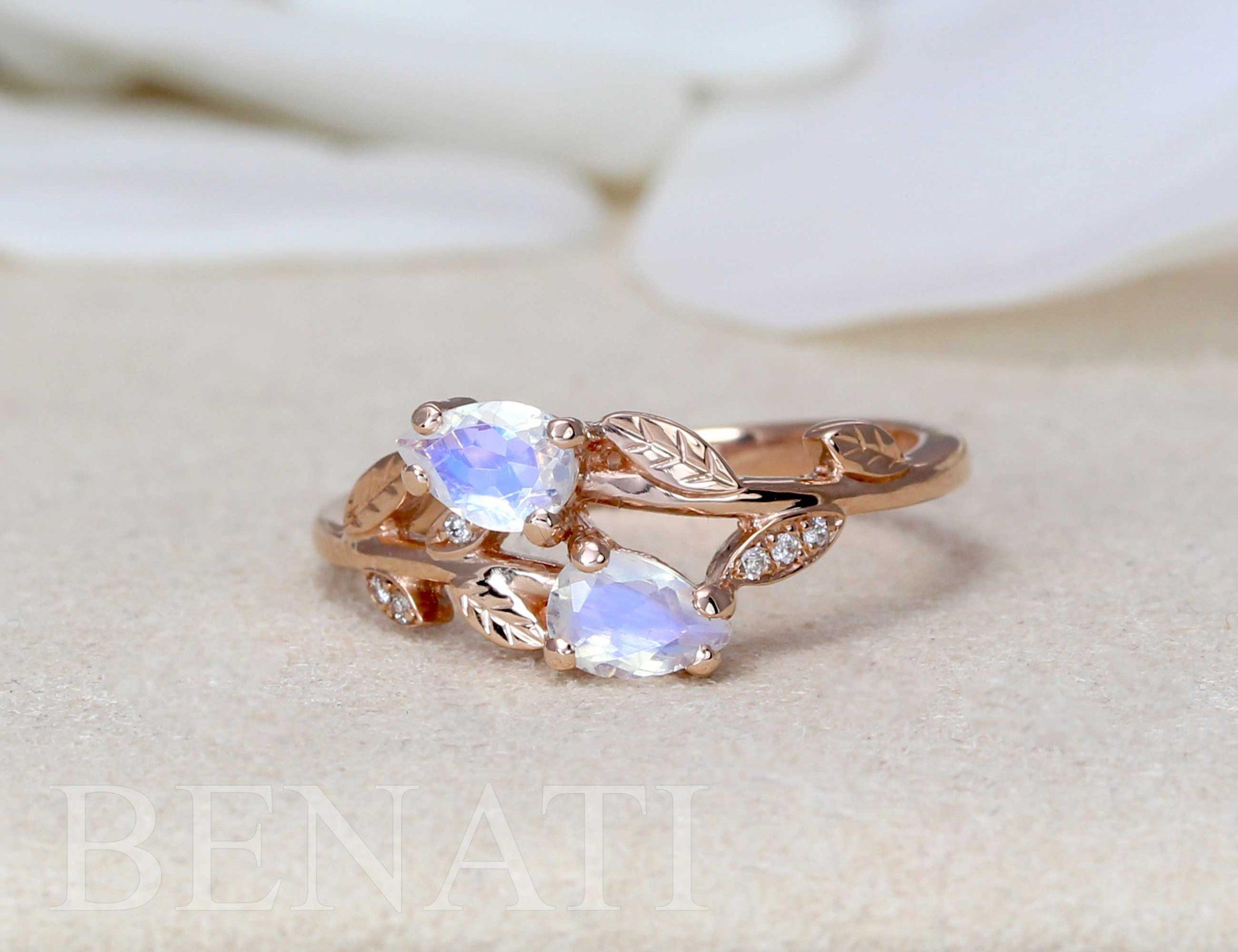 Pear Cut Rainbow Moonstone Nature Inspired Ring Vintage Moonstone Engagement Ring In Rose Gold Benati