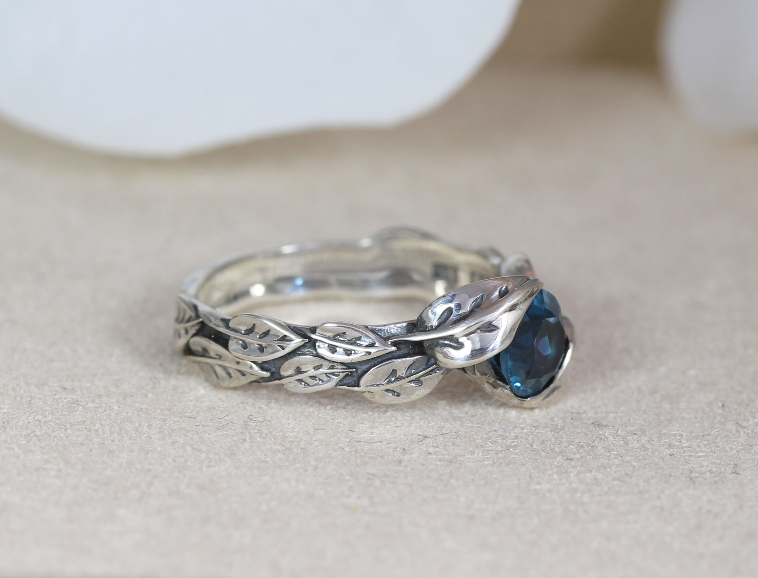 Sterling Silver Ring Leaf Ring Blue Topaz Tree of Life Ring Art 18K Gold Plated Forest Branch Leaf Statement Rings Leaf Engagement Ring