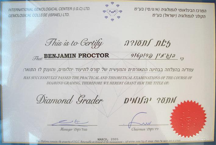 Ben Proctor's diamond grader certificate